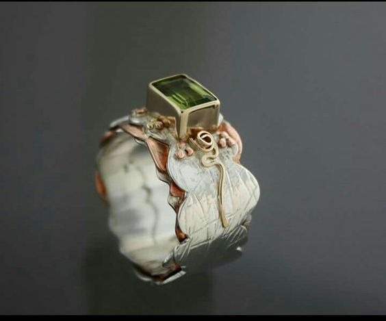 Kathy Anderson ring, peridot, sterling,  14kt, copper