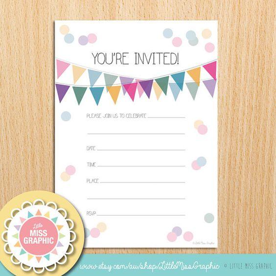 Kitchen Tea Invitation Templates Free Download: INSTANT DOWNLOAD Confetti Bunting Rainbow Party Invite