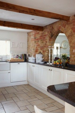 Kitchen with white floor tiles and units with granite - White kitchen brick tiles ...