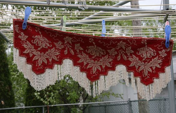 Antique Glass Bead Pelmet Valance Beaded Red White  Fringe Wall Shelf Valance Fireplace Mantle Pelmet Valance Victorian  Window Edging