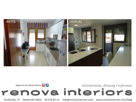 ANTES Y DESPUÉS Reforma completa Y&M. Ampliación cocina. www.renovainteriors.com