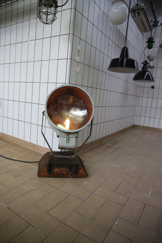 authentic industrial lamps at Blom and Blom Gallery, Amsterdam