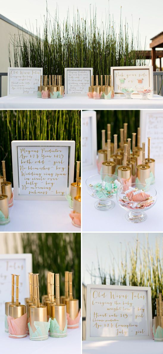Fun Gender Reveal Party in Peach, Mint, and Gold. @sharonvak ...