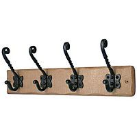 Rust Pine Hook Rail - 4 Iron Tudor Hooks