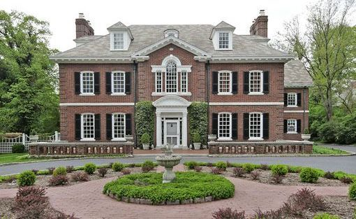 Georgian Style Facade Traditional Brick Home American Style House Colonial House