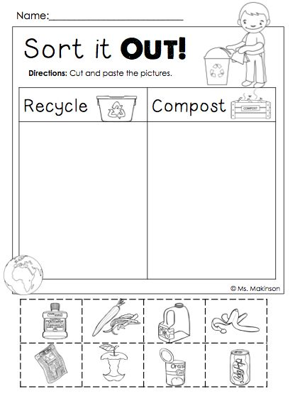 math worksheet : freebie!! earth day printables  sort it out! cut and paste  : Sorting Worksheets For Kindergarten Printable