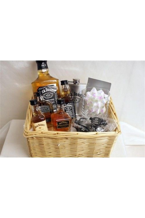 9 best anniversary ideas images on pinterest birthdays gift ideas jack daniels gift personalised gift basket want to something like this for phils but larger scale bottles solutioingenieria Choice Image