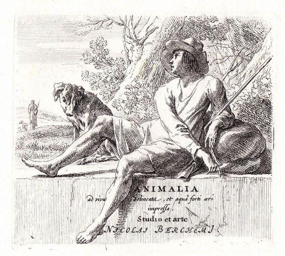 Nicholas Berchem - Animalia - Shepard  Resting on a Wall - Etching