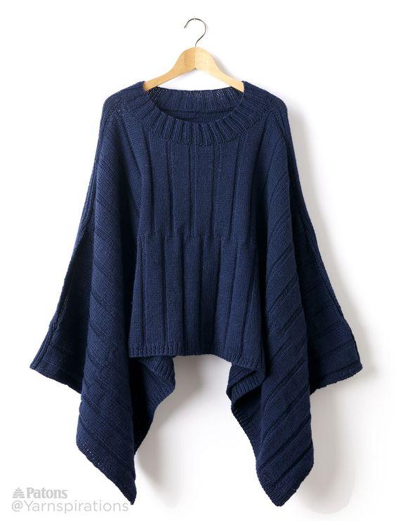 Reversible Ribbed Knit Poncho - Patterns   Yarnspirations   Free ...