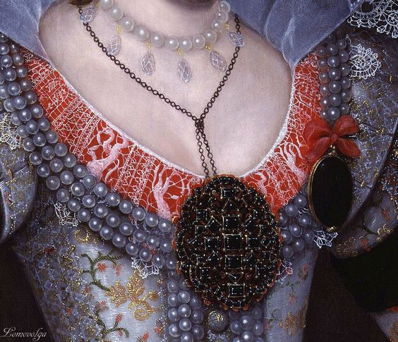 Inspiration: Magnificent Garnet Pendant,Unknown artist Portrait of Princess Elizabeth Stuart, later Queen of Bohemia, called the Winter Queen 1613. National Portrait Gallery, London: