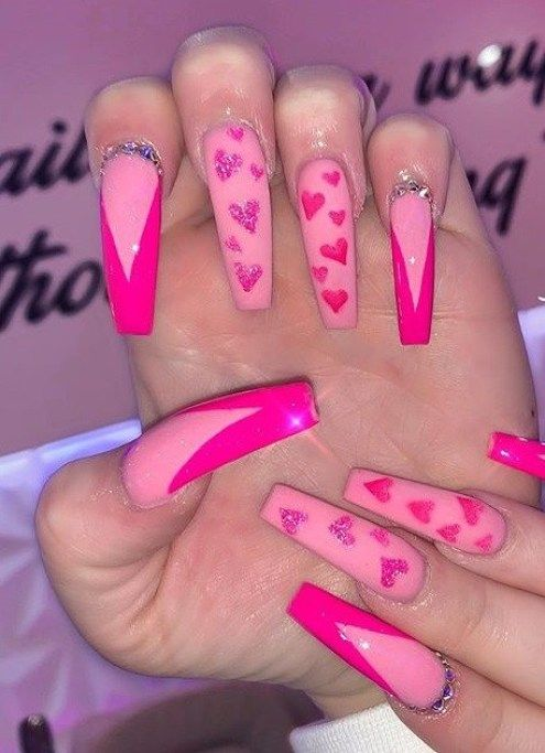 Hot Pink Nail Designs 20 That Are Just Stunning Inspired Beauty In 2020 Hot Pink Nails Pink Acrylic Nails Manicure Nail Designs