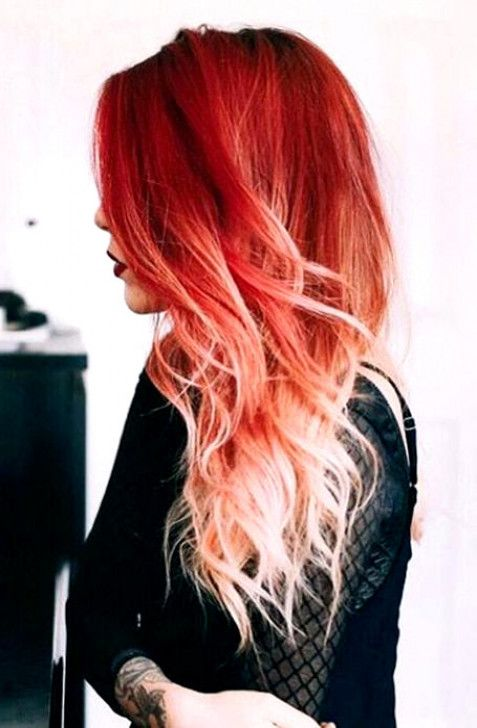 The Most Gorgeous Red Ombre Hair Ideas For Fiery Ladies Red Ombre Hair Ombre Hair Blonde Fire Ombre Hair