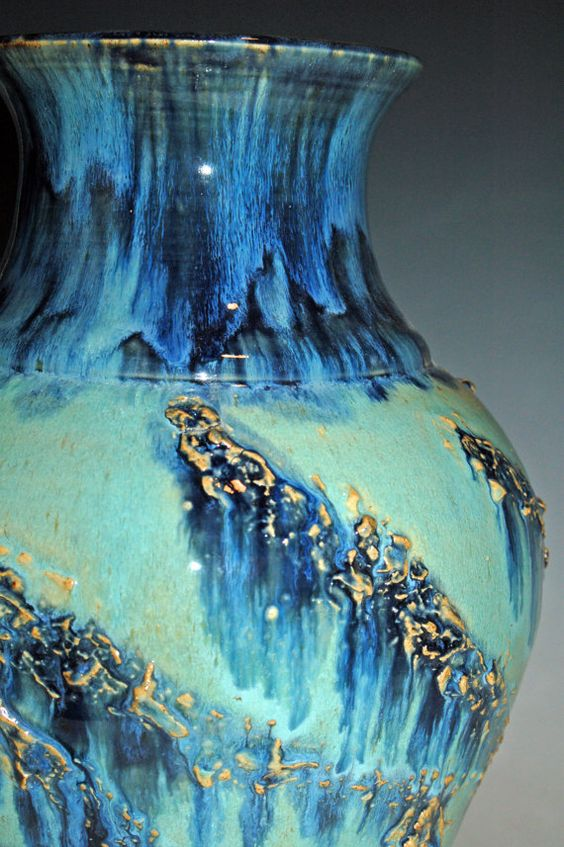 Large Pottery Vase with Blue and Green Glazes by nhfinestoneware, $224.95