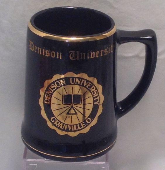 "Denison University Granville Ohio College Mug Stein Blue Gold Seal 5"""