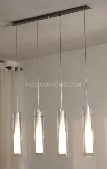 Luminaire suspension design en nickel chrom verre yona 4 lampes 179 03 - Lampe suspension cuisine design ...