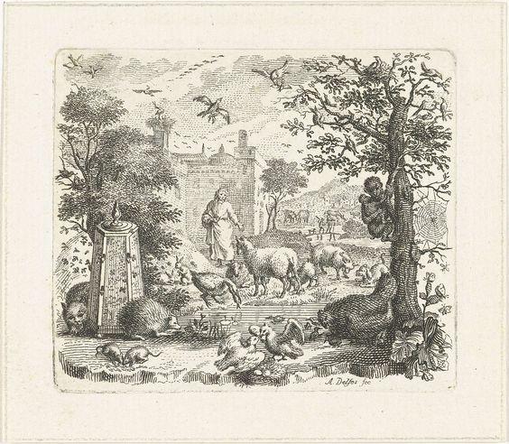 Abraham Delfos | Tuin met man en dieren, Abraham Delfos, 1741 - 1820 |