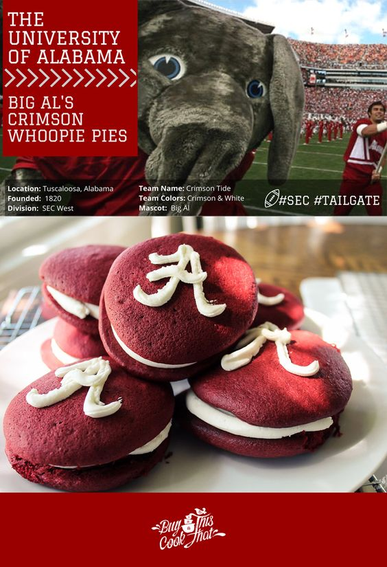Alabama football is a pretty big deal. So are Big Al's Whoopie Pies! With only 6 ingredients, these are a fun way to celebrate your next Alabama Tailgate. #rolltide #tailgate #alabama buythiscookthat.com/alabama-tailgate/