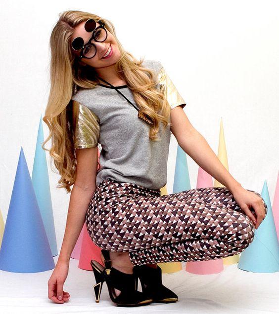 Womens Leggings Triangle Print Leggings  S/M by Uptightso on Etsy, $70.00