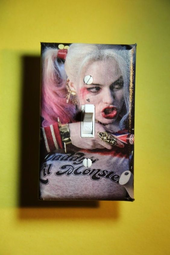 Boy girl room rooms home decor and light switch covers on for Harley quinn bedroom ideas