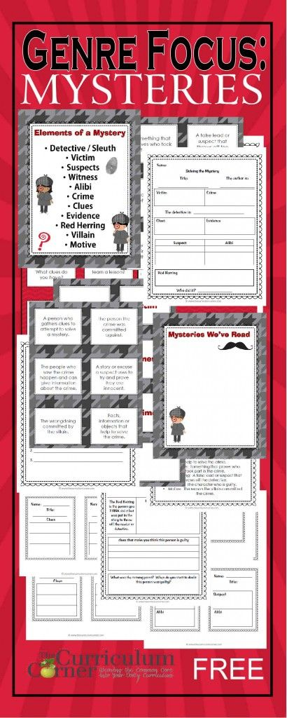 Genre Focus:  Mystery | Reading Workshop Unit of Study free from The Curriculum Corner | graphic organizers, exit tickets, anchor charts & more