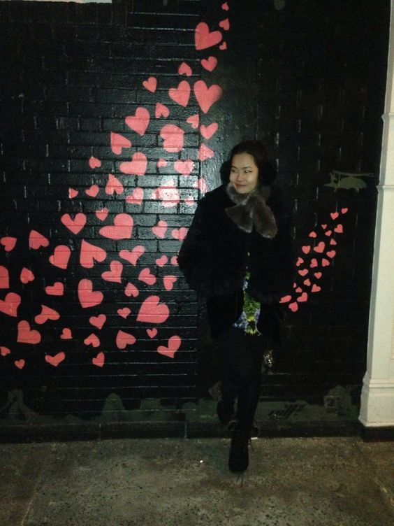 On the way back with hearts !! Sweet Graffiti on wall, New York City