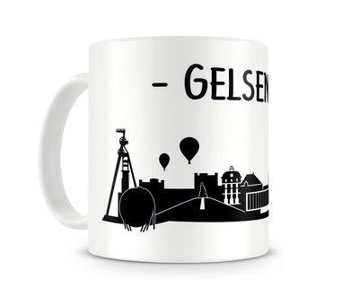 Tasse Gelsenkirchen Skyline. Eine Tasse bedruckt mit der Skyline von Gelsenkirchen