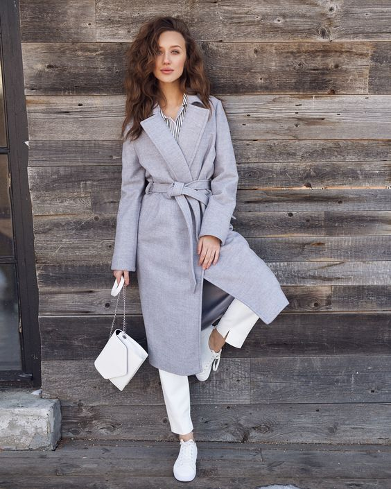 Серое пальто халат, серое пальто с поясом, серое пальто с чем носить, серое пальто лук, женское пальто, серое пальто оверсайз, street style, coat, gray coat
