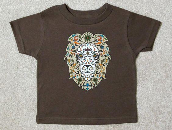 Sugar Skull Style LION Toddler T Brown Shirt by HappyGoatDesigns