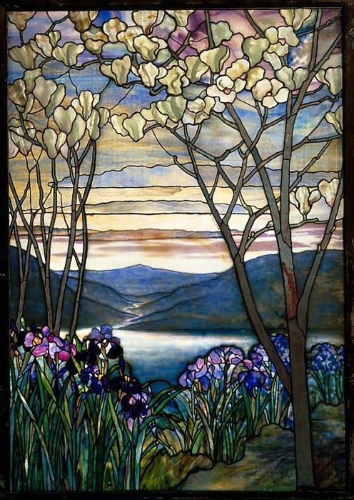 Magnolias and Irises, ca. 1908  Designed by Louis Comfort Tiffany: