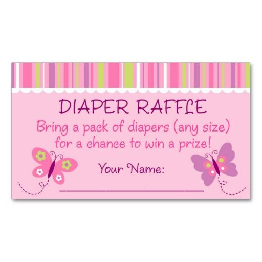 Butterfly Diaper Raffle Tickets Business Card Templates : Butterfly ...