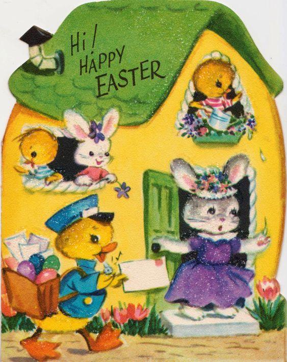 Vintage 1950s Hi Happy Easter Greetings Card (B8)