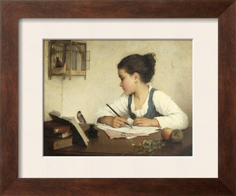 Young Girl Writing at Her Desk with Birds Stretched Canvas Print by Henriette Browne at Art.com