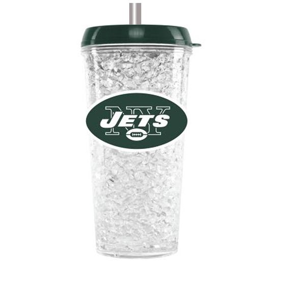 Duckhouse Crystal Tumbler With Straw New York Jets