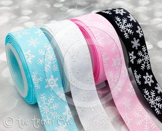 """7/8"""" White Glitter Snowflakes"""