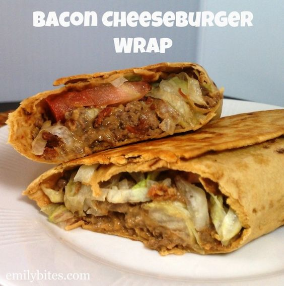 Bacon Cheeseburger Wraps - SO filling, delicious and easy to make for just 335 calories or 8 Weight Watchers SmartPoints per wrap! www.emilybites.com