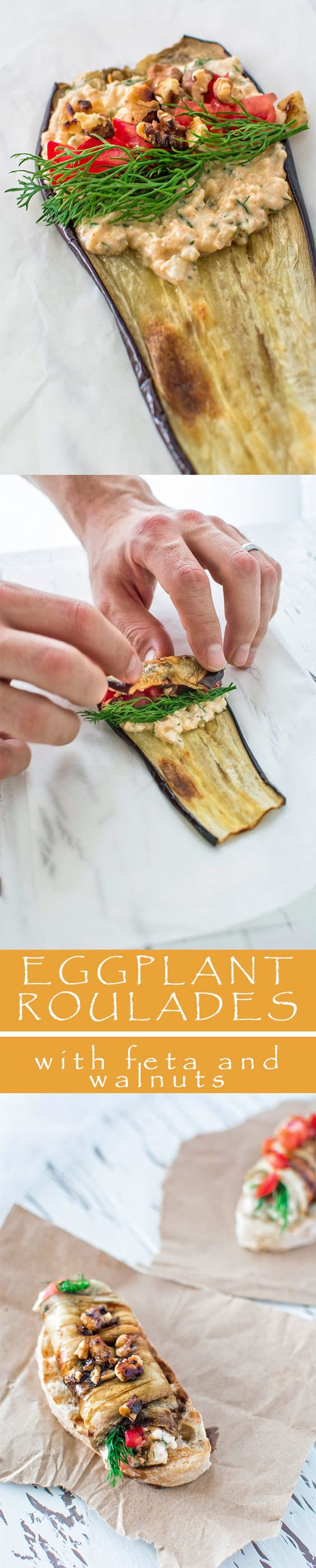 Eggplant roulades stuffed with creamy feta cheese, fresh tomatoes and ...