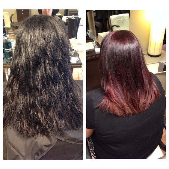 Black boxed dyed hair to a slight red and blonde ombré