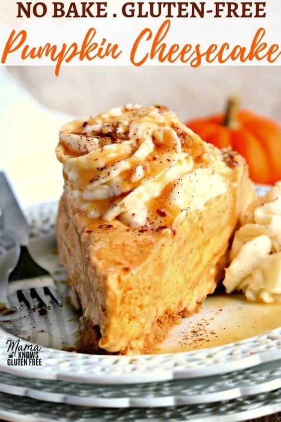 Gluten-Free No-Bake Pumpkin Cheesecake is a luscious but easy to make dessert. It has all the decadent flavor of a traditional pumpkin cheesecake, without all of the fuss. #glutenfree #glutenfreerecipe #pumpkin #pumpkinrecipes #pumpkinpie #Thanksgiving #cheesecakerecipe #nobake #nobakecheesecake #nobakedessert
