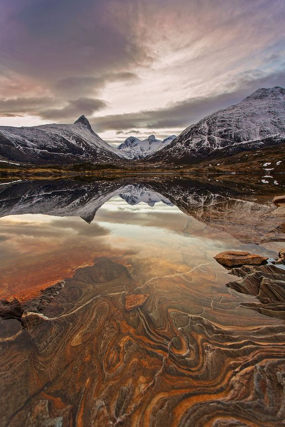 This landscape beauty was taken just outside of Bodo, Norway, by photographer Tommy Angelsen.  The reflection of North by            Tommy  Angelsen  - http://picsburst.com/the-reflection-of-north/