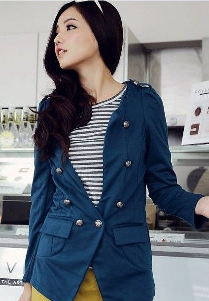 Double-Breasted Long Sleeve Women Blue Cotton Coat One Size @LY942811bl
