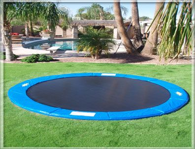 In-ground trampolines!  Brilliant!  Dig a big hole in your yard and insert... looks better and a heck of a lot safer!