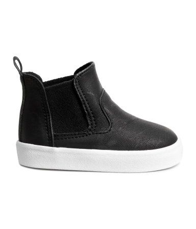 Black. High-top, pull-on sneakers in imitation leather with elastic side panels…