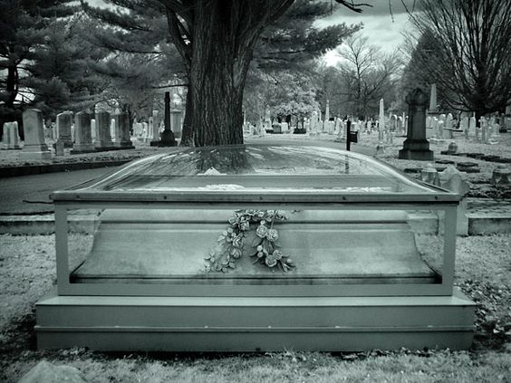 Officially dedicated in 1839, the Greenmount Cemetery in Baltimore is the final resting place to over 65,000 people.  One grave consisted of a stone casket encased in curved glass. Roses were carved beautifully into the sarcophagus.