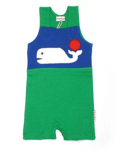Green john with short legs 'whale' - Baba Babywear