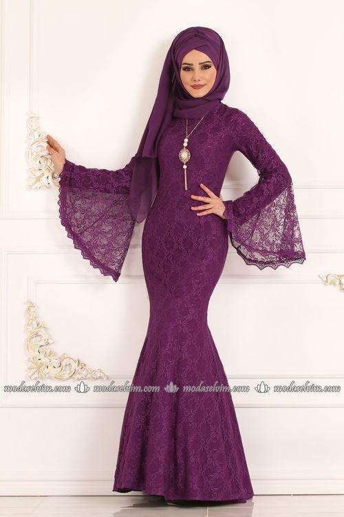Modaselvim Abiye Volan Kol Dantel Balik Abiye 5122ay342 Mor Elbiseler The Dress Elbise