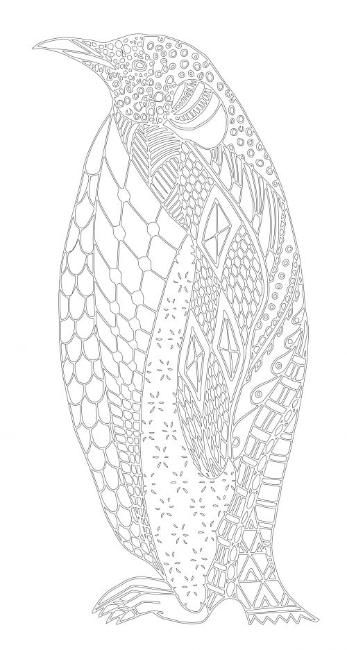 adult coloring page penguins | Coloring pages adult/advanced ...