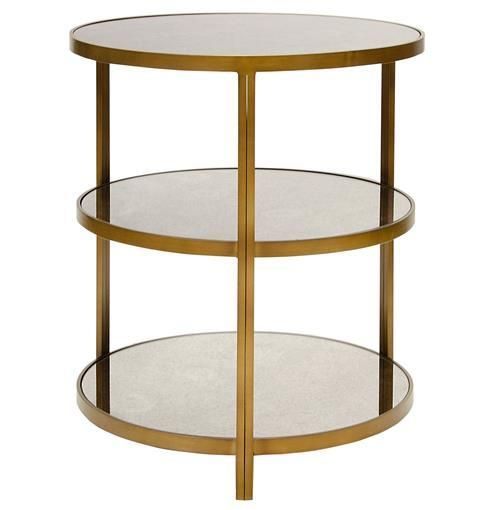 Trilogy Hollywood Regency 3 Tier Bronze Antique Mirror Side Table Mirrored Side Tables Modern Side Table Table