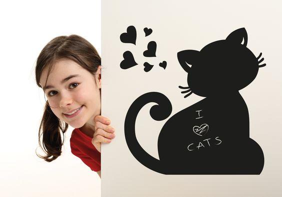 Lavagna adesiva per decorare le pareti dei tuoi bambini- Blackboard for children's room. Il Gatto. Creazione la Banda del Riccio www.etsy.com/shop/labandadelriccio