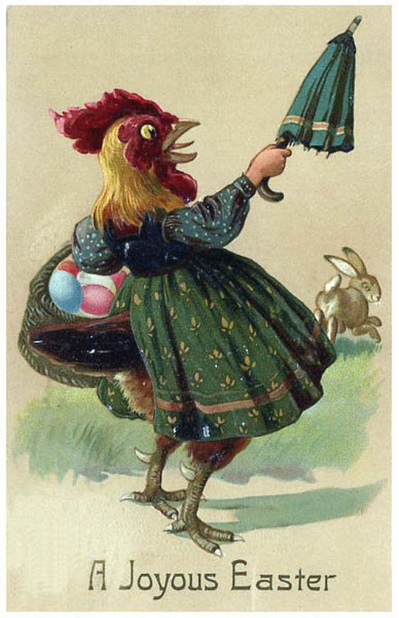 The card that makes your half-chicken half-umbrella wielding woman nightmares a reality.   21 Vintage Easter Cards That Will Totally Creep You Out: