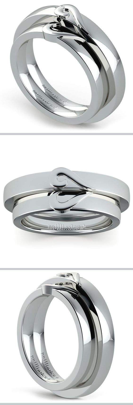 This wedding set features matching his and hers 3.5 mm bands in white gold, each with a curled half-heart design.